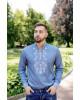 Купити чоловічу вишиту сорочку Росан (джинс т. з білим) в Україні від Галичанка фото 3