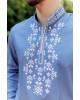 Купити чоловічу вишиту сорочку Росан (джинс т. з білим) в Україні від Галичанка фото 2