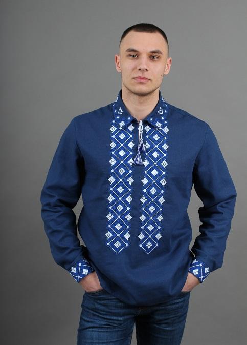 Купити чоловічу вишиту сорочку Синевир (синій з білим)в Україні від Галичанка фото 1