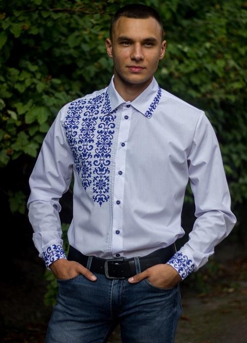Купити чоловічу вишиту сорочку Сиверин (біла з синім)в Україні від Галичанка фото 1