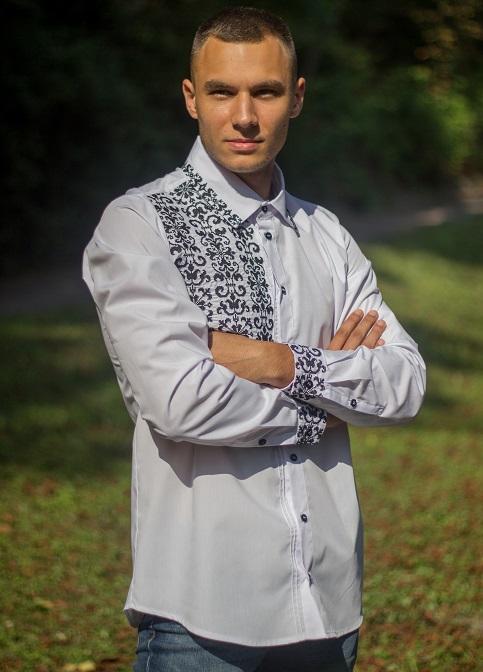 Купити чоловічу вишиту сорочку Сиверин (біла з чорним)в Україні від Галичанка фото 1