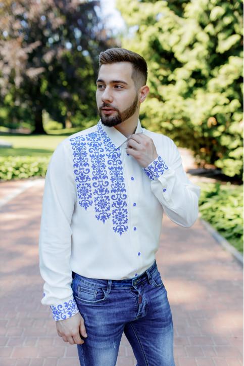 Купити чоловічу вишиту сорочку Северин (молочна з синім) в Україні від Галичанка фото 1
