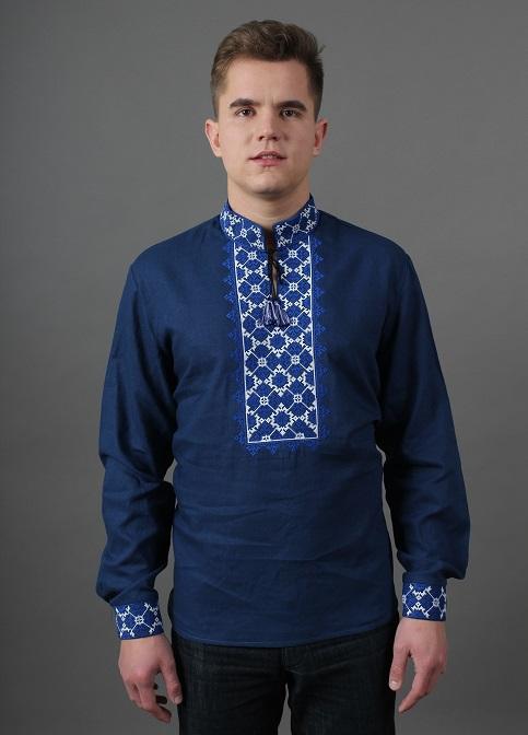 Купити чоловічу вишиту сорочку Святослав ( т.синя з білим)в Україні від Галичанка фото 1