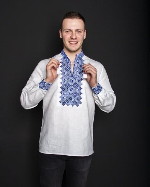 Купити чоловічу вишиту сорочку Святослав (біла з синьо-голубим) в Україні від Галичанка фото 1