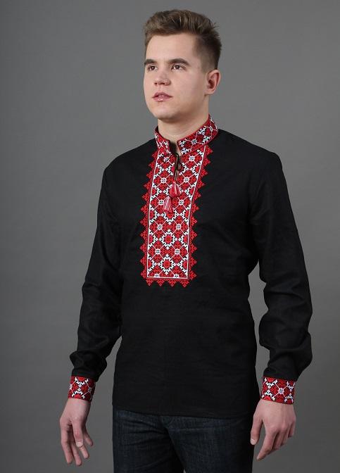 Купити чоловічу вишиту сорочку Святослав (чорна)в Україні від Галичанка фото 1