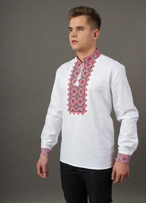 Купити чоловічу вишиту сорочку Святослав (біла з червоно чорним)в Україні від Галичанка фото 1