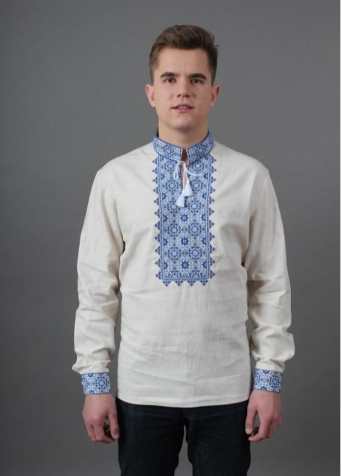 Купити чоловічу вишиту сорочку Святослав (біла з синім)в Україні від Галичанка фото 1