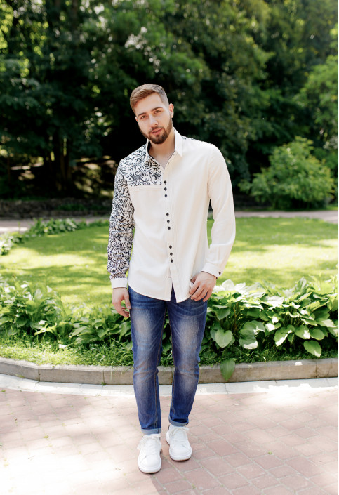 Купити чоловічу вишиту сорочку Султан ( молочний з чорним) в Україні від Галичанка фото 1