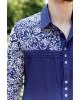 Купити чоловічу вишиту сорочку Султан (темно синій з білим) в Україні від Галичанка фото 4
