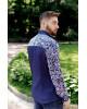 Купити чоловічу вишиту сорочку Султан (темно синій з білим) в Україні від Галичанка фото 3