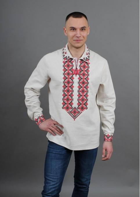 Купити чоловічу вишиту сорочку Вогнедар (молочна з червоним )в Україні від Галичанка фото 1