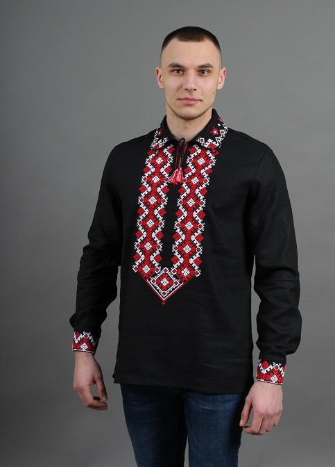 Купити чоловічу вишиту сорочку Вогнедар ( чорний з червоною )в Україні від Галичанка фото 1