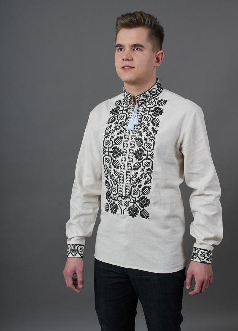 Купити чоловічу вишиту сорочку Всеволод (молочна з чорним)в Україні від Галичанка фото 1