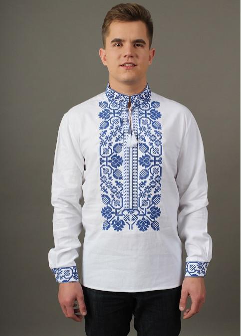 Купити чоловічу вишиту сорочку Всеволод (біла з синім)в Україні від Галичанка фото 1