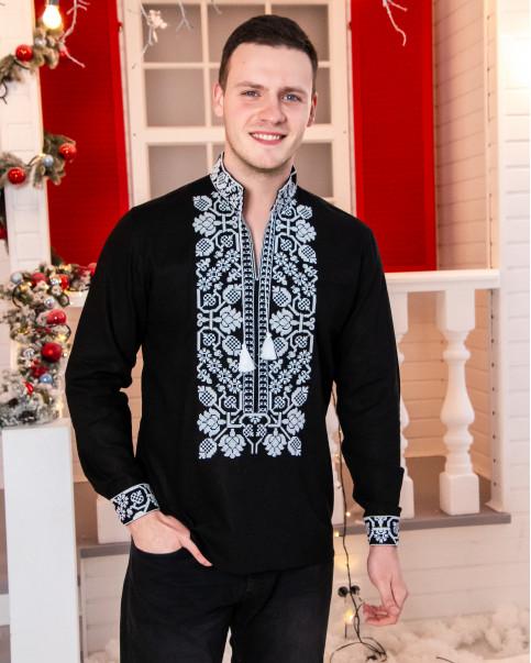 Купити чоловічу вишиту сорочку Всеволод ( чорний з білим)в Україні від Галичанка фото 1