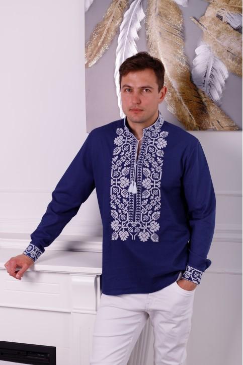 Купити чоловічу вишиту сорочку Всеволод (темно синя з білим)в Україні від Галичанка фото 1