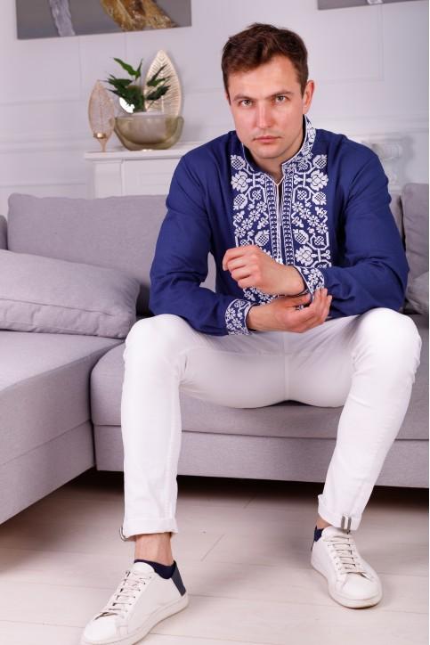Купити чоловічу вишиту сорочку Всеволод (синій з білим)  в Україні від Галичанка фото 1