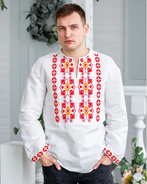 Купити чоловічу вишиту сорочку  Геометрія (біла) в Україні від Галичанка фото 1