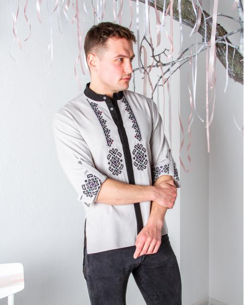 Купити чоловічу вишиту сорочку Гражда (кавовий) в Україні від Галичанка фото 1