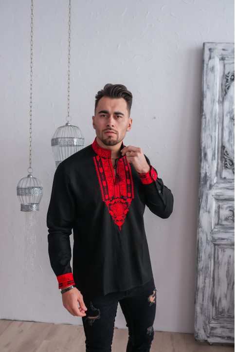 Купити чоловічу вишиту сорочку Княжий Амулет (чорна з червоним)в Україні від Галичанка фото 1