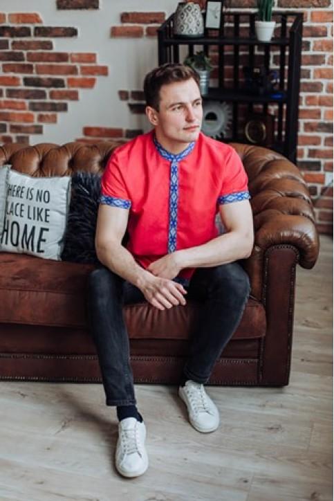 Купити чоловічу вишиту сорочку Незалежність стійка (коралова джинс гладь синя)в Україні від Галичанка фото 1