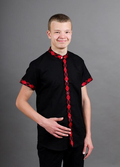 Купити чоловічу вишиту сорочку Незалежність стійка (чорна з червоним )в Україні від Галичанка фото 1