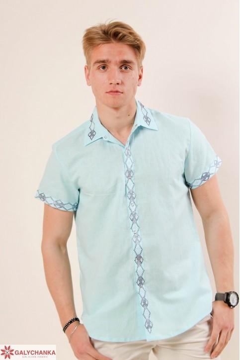 Купити чоловічу вишиту сорочку Незалежність комір (голубий з  сірим )в Україні від Галичанка фото 1