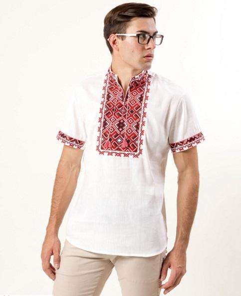 Купити чоловічу вишиту сорочку  Отаман (білий з червоним)в Україні від Галичанка фото 1