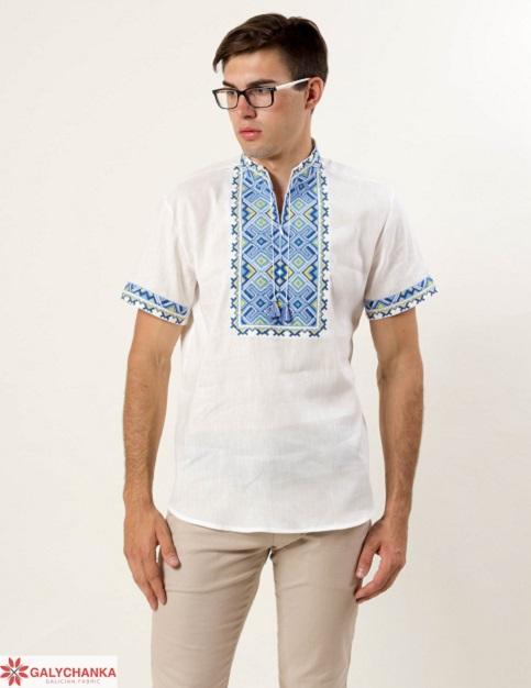 Купити чоловічу вишиту сорочку Отаман льон (білий з синім)в Україні від Галичанка фото 1