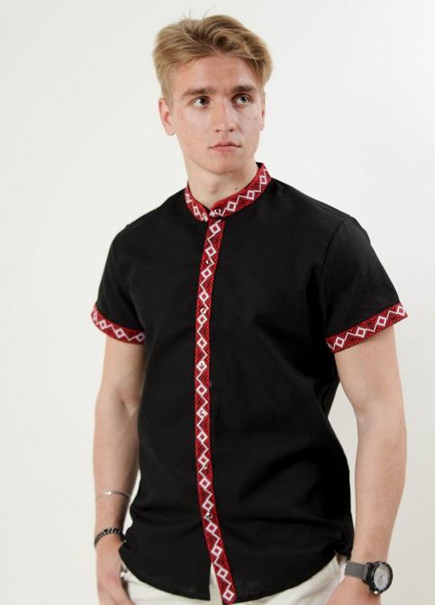 Купити чоловічу вишиту сорочку Соборність стійка (чорна з червоним)в Україні від Галичанка фото 1