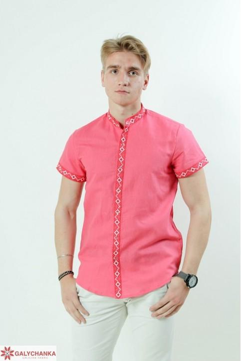 Купити чоловічу вишиту сорочку Соборність стійка (коралова з червоним)в Україні від Галичанка фото 1