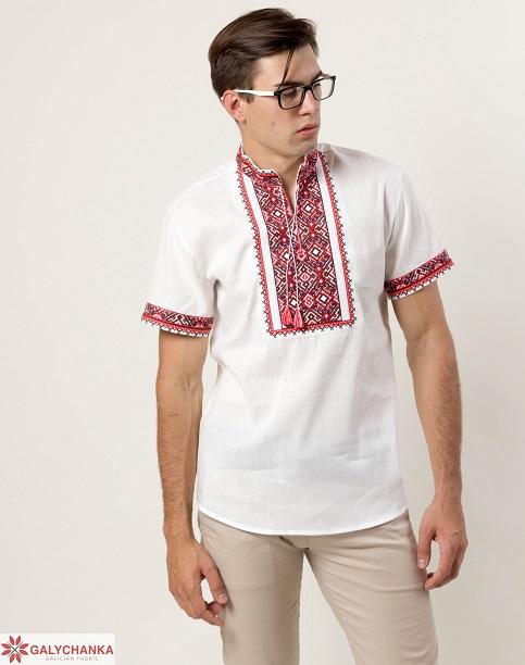 Купити чоловічу вишиту сорочку Гетьман (льон білий з червоним) в Україні від Галичанка фото 1