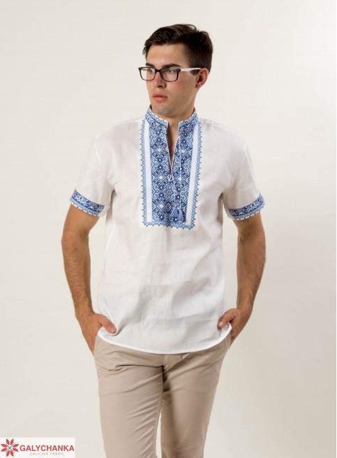 Купити чоловічу вишиту сорочку Гетьман (льон білий з синім)в Україні від Галичанка фото 1