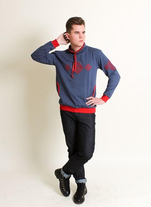 Ельбрус ( джинс з червоним ) - чол.світшот-спорт д/р трик джинс виш.черв Ельбрус MST-04 фото 1