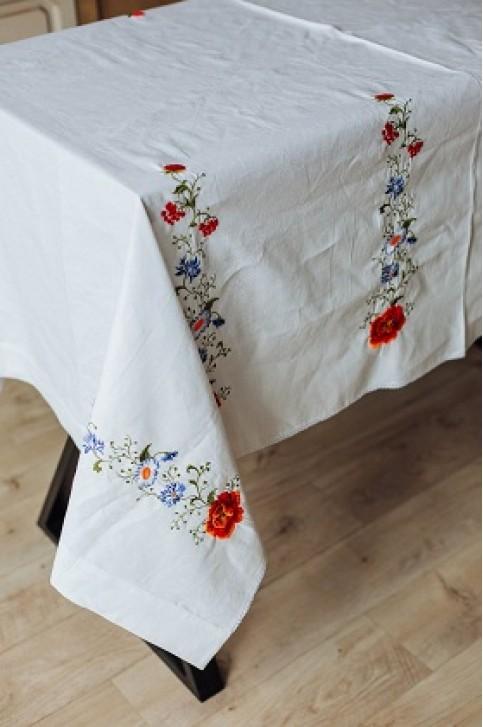 Купити скатертину в українському стилі Щедрість 2,10*1,45 (біла) від виробника Галичанка  фото 1