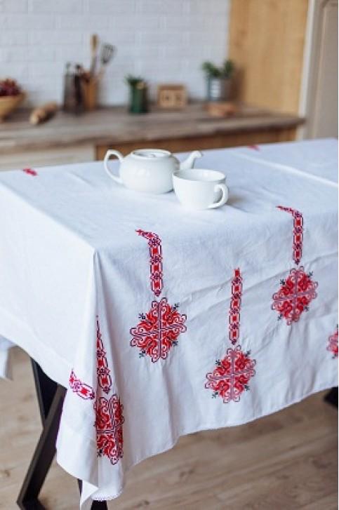 Купити скатертину в українському стилі Злагода 1,45*1,45 (біла з червоним) від виробника Галичанка  фото 1
