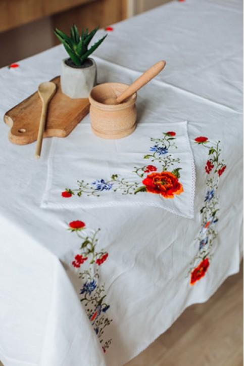 Купити скатертину в українському стилі Щедрість 1,45*1,45 (белая)+ серветки від виробника Галичанка  фото 1