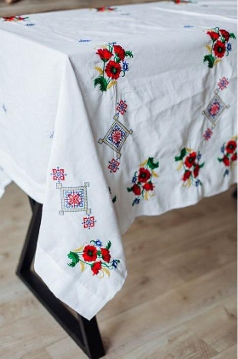 Купити скатертину в українському стилі Достаток 1,45*1,45 (біла) від виробника Галичанка  фото 1