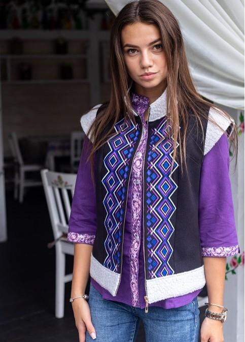 Купити жіночий жакет з вишивкою Безрукавка  Джерело  в Україні від Галичанка фото 1