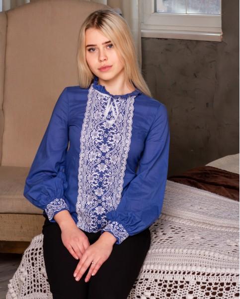 Купити жіночу вишиту сорочку Адель плюс ( джинс )в Україні від Галичанка фото 1