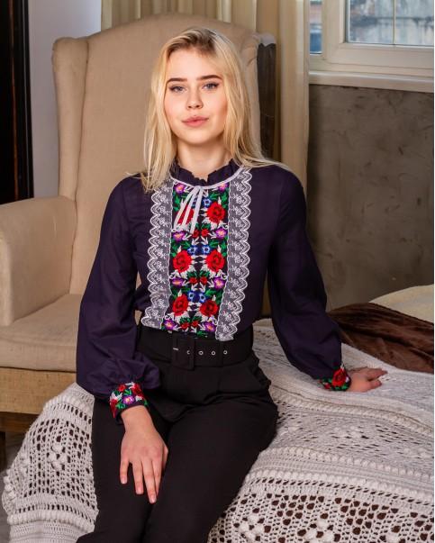 Купити жіночу вишиту сорочку Агнеса плюс (темно синя)в Україні від Галичанка фото 1