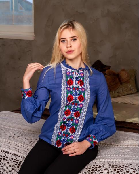 Купити жіночу вишиту сорочку Агнеса плюс (джинс)в Україні від Галичанка фото 1