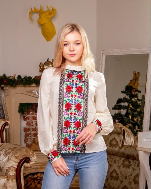 Купити жіночу вишиту сорочку Агнеса плюс (молочна)в Україні від Галичанка фото 1