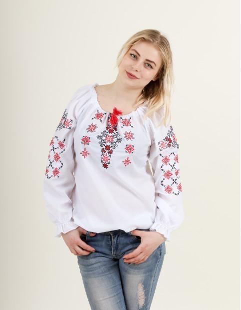 Купити жіночу вишиту сорочку Аквамарин (біла з червоним)в Україні від Галичанка фото 1