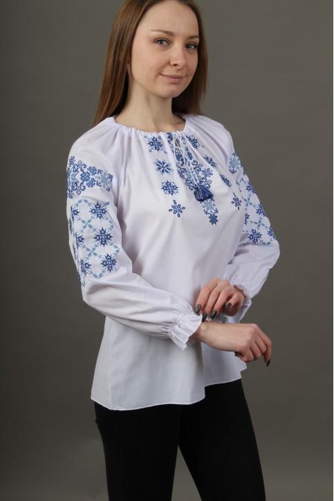 Купити жіночу вишиту сорочку Аквамарин (біла з синім)в Україні від Галичанка фото 1