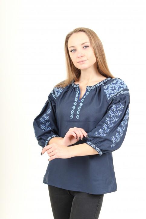 Купити жіночу вишиту сорочку Андріана  (темно-синій)в Україні від Галичанка фото 1