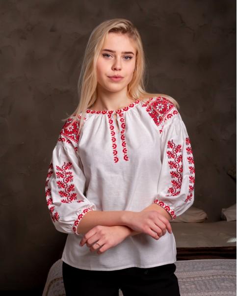 Купити жіночу вишиту сорочку Андріана (білий  з червоним)в Україні від Галичанка фото 1