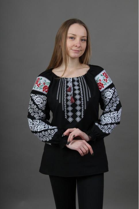 Купити жіночу вишиту сорочку Аничка (чорна)в Україні від Галичанка фото 1