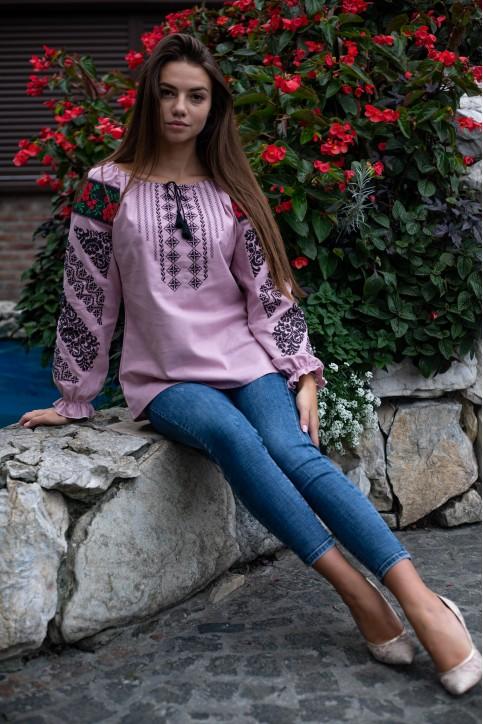 Купити жіночу вишиту сорочку Аничка (рожева з чорною)в Україні від Галичанка фото 1
