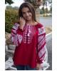 Купити жіночу вишиту сорочку Аничка вишнева з білимв Україні від Галичанка фото 1
